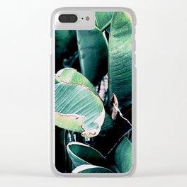Leaves, Green, Tropical, Plants, Neutral, Minimal, Modern, Wall art Clear iPhone Case