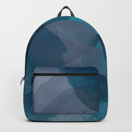 Abstract Watercolor Circles in Ombre Blue Backpack