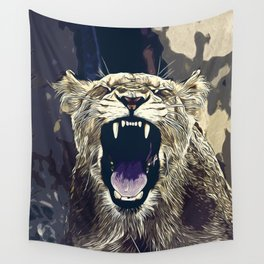 african lioness safari cat v2 vector art foggy night Wall Tapestry