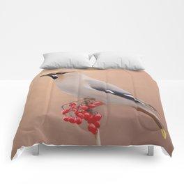 Waxwing with Berries Comforters