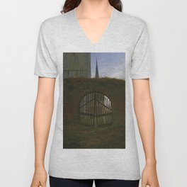 Caspar David Friedrich - The Cemetery Gate / The Churchyard (1830) Unisex V-Neck