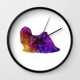 Lhasa Apso in watercolor Wall Clock