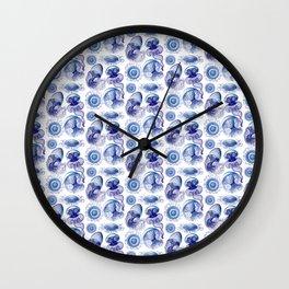 Ernst Haeckel Jellyfish Leptomedusae Vivid Blues Wall Clock