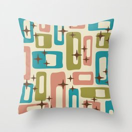 Retro Mid Century Modern Abstract Pattern 623 Olive Blue and Dusty Rose Throw Pillow