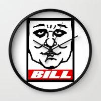bill Wall Clocks featuring BILL by KINGOFTHERATS