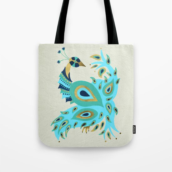 Peacock – Turquoise & Gold Tote Bag
