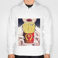 french fries Hoodies featuring I LOVE FRENCH FRIES by Analy Diego