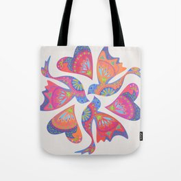 3 Birds Playing Tote Bag