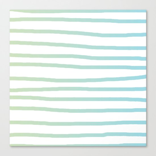 Simply Drawn Stripes in Turquoise Green Blue Gradient on White Canvas Print
