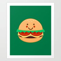 burger Art Prints featuring Burger by AnishaCreations