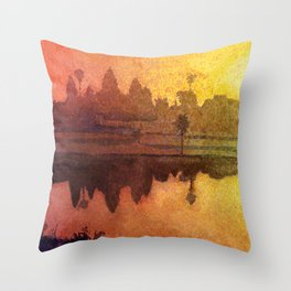 Angkor Wat ruins near Siem Reap, Cambodia. Fine art painting Throw Pillow