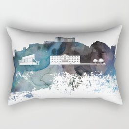 Athens Skyline Print Rectangular Pillow