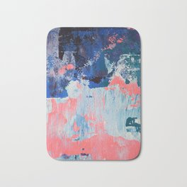 Mixtapes and Bubblegum: a colorful abstract piece in pinks and blues by Alyssa Hamilton Art Badematte