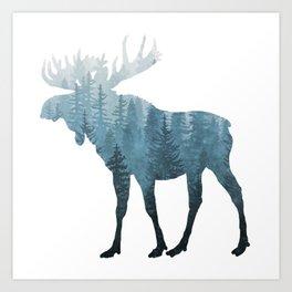 Misty Forest Moose Art Print