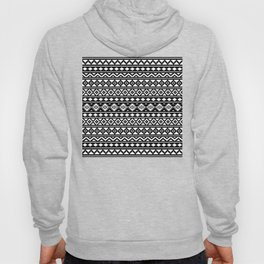 Aztec Essence Pattern II White on Black Hoody