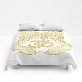 Hamsa - Om symbol Comforters