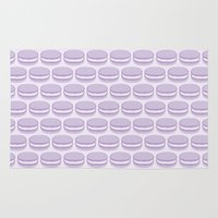 macaron Area & Throw Rugs featuring Purple Macaroon Pattern - Lavender Macaron by French Macaron Art Print and Decor Store