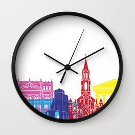 Nimes skyline pop Wall Clock