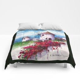 Windmills of Santorini Comforters