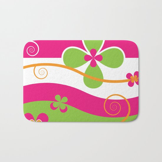 Colorful Spring Floral Graphic Art II Bath Mat