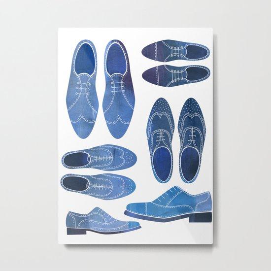 Blue Brogue Shoes Metal Print