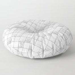 Faux Patchwork Quilting - White & Silver Pattern Floor Pillow