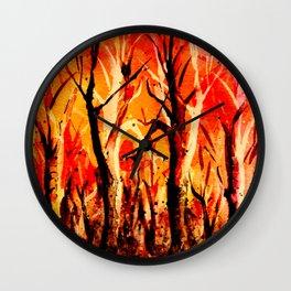 Dark Burning Forest Wall Clock