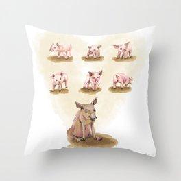 Free range piggies Throw Pillow
