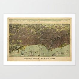 Vintage Pictorial Map of Chicago IL (1893) Art Print