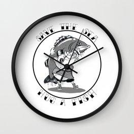 save the sea hug a fish Wall Clock
