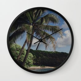 Hawaii Haze - Tropical Beach with Palm Trees Wall Clock