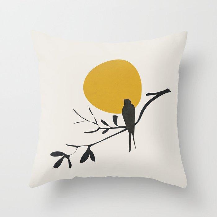 Bird and the Setting Sun Throw Pillow