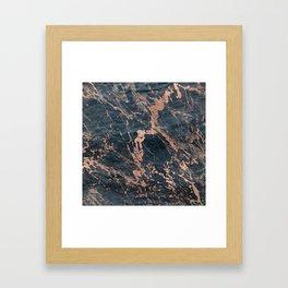 Blue & Rose Gold Marble Framed Art Print