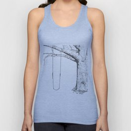 tree and swing, drawing black and white Unisex Tank Top