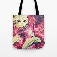 saga Tote Bags featuring Galactic Cats Saga 2 by Carolina Nino