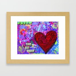 Love, Valentine's Day, Family, Heart, You are Loved Painting, Red Heart, Lavender, Blue, Green Framed Art Print