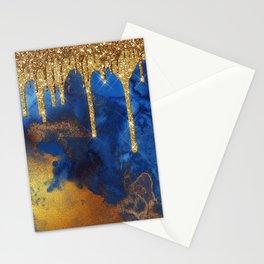 Gold Rain on Indigo Marble Stationery Cards