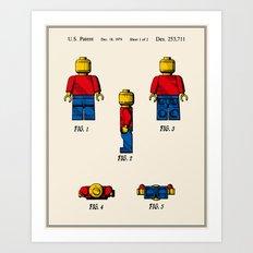 Lego Man Patent - Colour (v2) Art Print