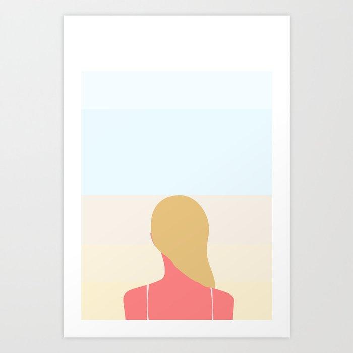 EN SMUK DAG PÅ STRANDEN  No.01  (Girl) Art Print