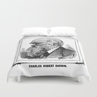 robert farkas Duvet Covers featuring Charles Robert Darwin by Bramble & Posy