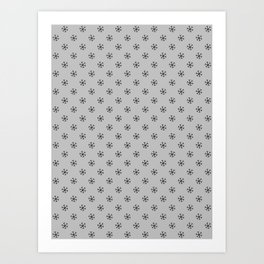 Black on Gray Snowflakes Art Print