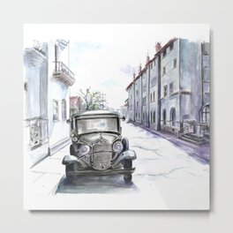 Old car in an old city Metal Print