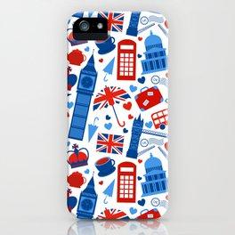 Fondo de patrón sin fisuras con hitos de Londres y símbolos de Gran Bretaña ilustración vectoria iPhone Case