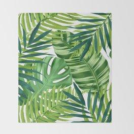Tropical leaves III Throw Blanket