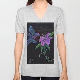"""Blue Hummingbird"" by KC Krimsin Unisex V-Neck"