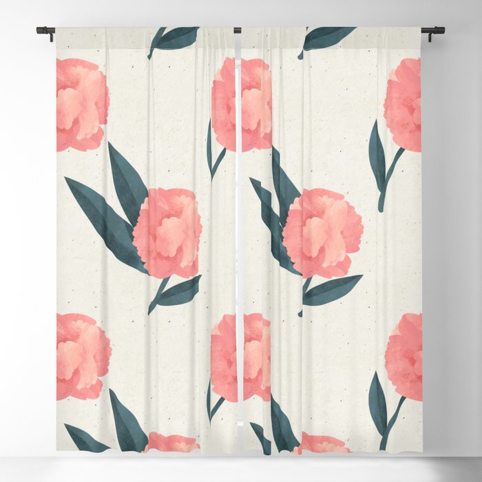 Seamless Beautiful Pink Red Peony Flower Pattern Blackout Curtain