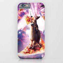 Laser Eyes Space Cat Riding On Surfing Llama Unicorn iPhone Case