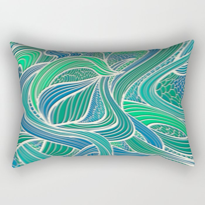 Abstract Wavy Leaves Rectangular Pillow