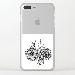 Two Inked Flowers Clear iPhone Case