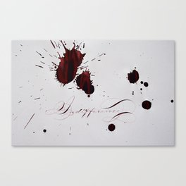 Relationship Indifference - Love Hurts Painting with Red Ink Calligraphy Canvas Print